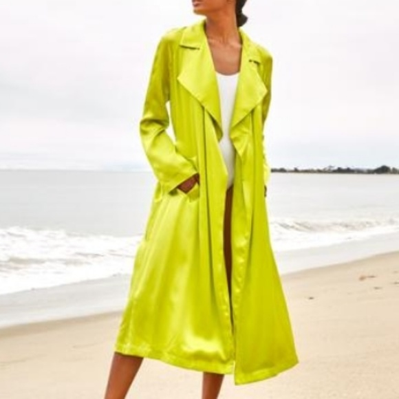 0a911d8df8f We Are Leone Jackets & Coats | Tallulah Silk Trench Size Sm Acid Gr ...